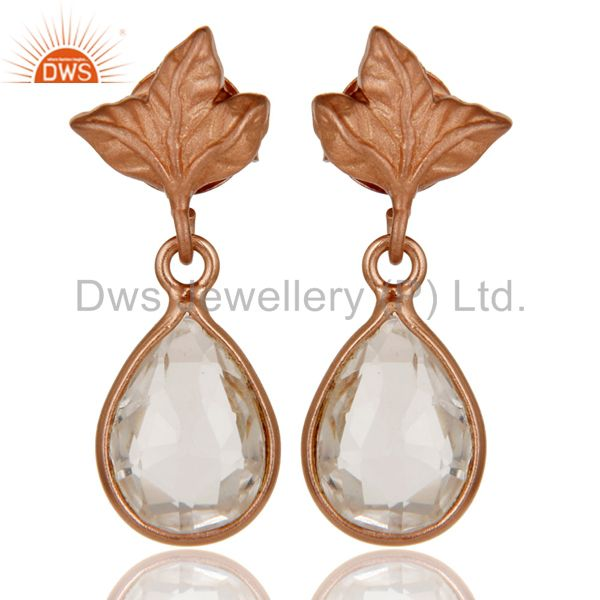 18k Rose Gold Plated Sterling Silver Leaf Carving Earrings With Crystal Quartz