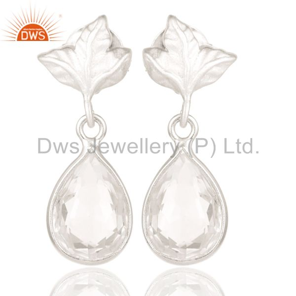 Solid 925 Sterling Silver Leaf Carving with Crystal Quartz Drops Earrings