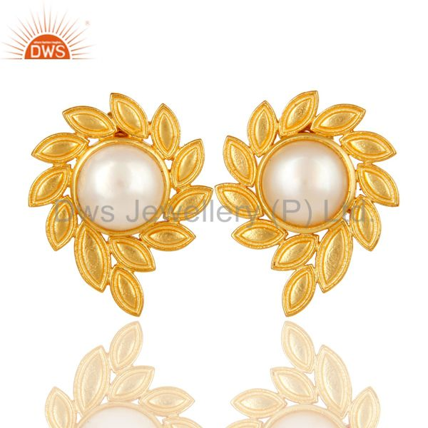 14K Gold Plated Handmade Fashion Design Pearl Studs Brass Earrings Jewellery