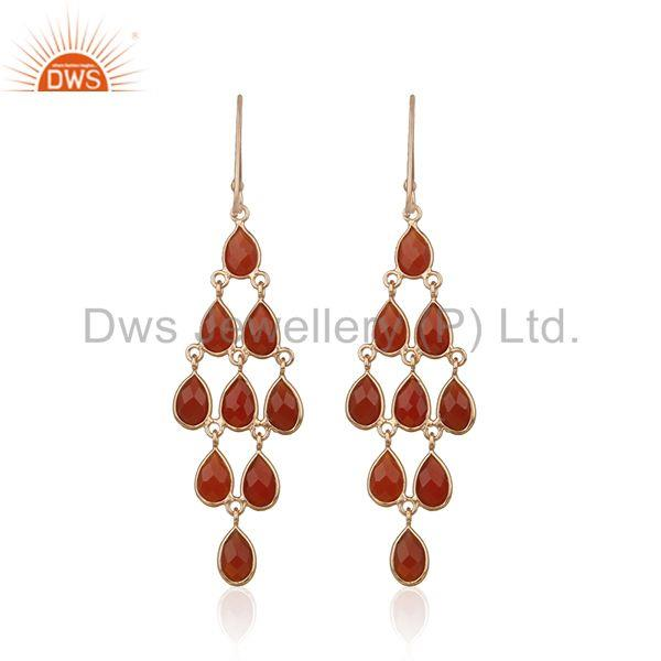 Red Onyx Gemstone Rose Gold Plated 925 Silver Dangle Earrings Manufacturer