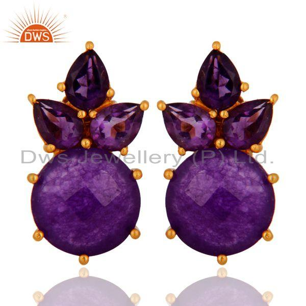 18K Yellow Gold Plated Purple Aventurine And Amethyst Cluster Post Stud Earrings