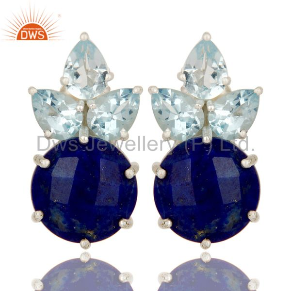 925 Sterling Silver Lapis Lazuli And Blue Topaz Gemstone Cluster Stud Earrings