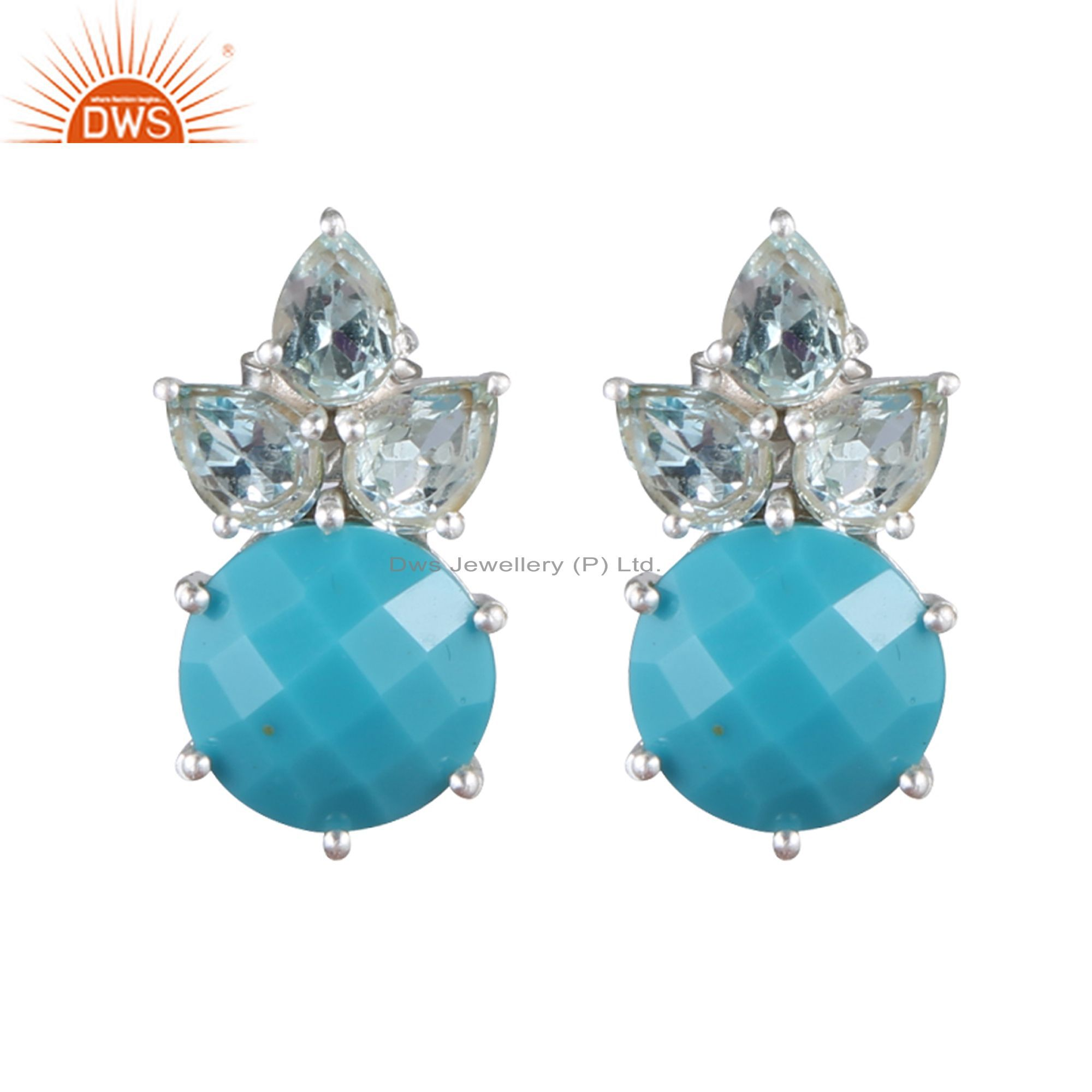 925 Sterling Silver Blue Topaz And Turquoise Gemstone Cluster Stud Earrings