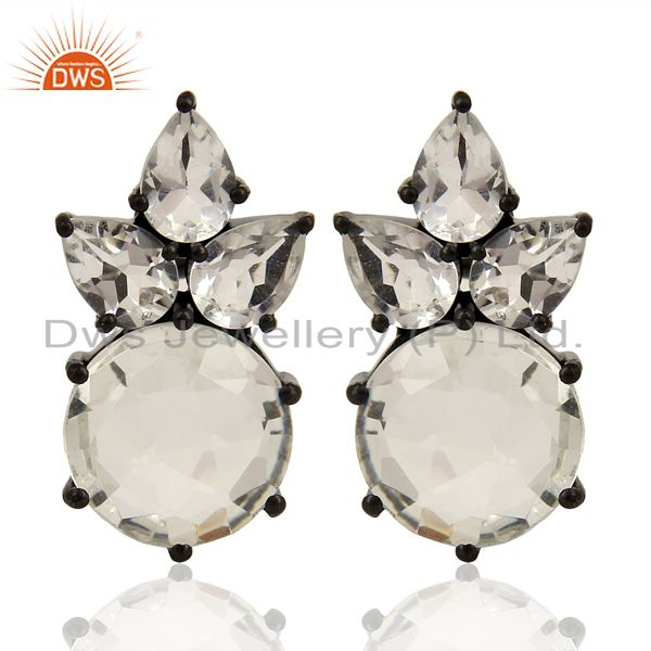 Crystal Quartz Studs Black Oxidized 925 Sterling Silver Earrings Jewelry