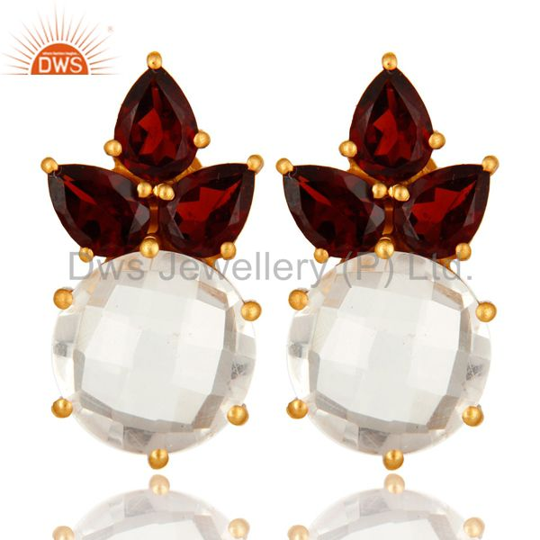 14K Yellow Gold Plated Sterling Silver Garnet And Crystal Quartz Stud Earrings