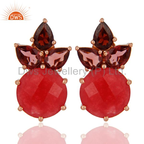 18K Rose Gold Plated Red Aventurine And Garnet Cluster Post Stud Earrings