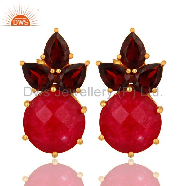18K Gold Plated Sterling Silver Garnet And Red Aventurine Post Stud Earrings