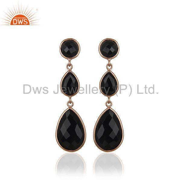 Black Onyx Gemstone 925 Silver Rose Gold Plated Handmade Earring Suppliers