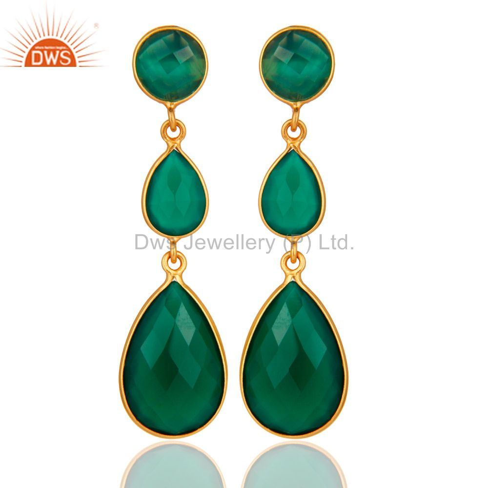 18K Gold Plated Sterling Silver Faceted Green Onyx Gemstone Dangle Earrings