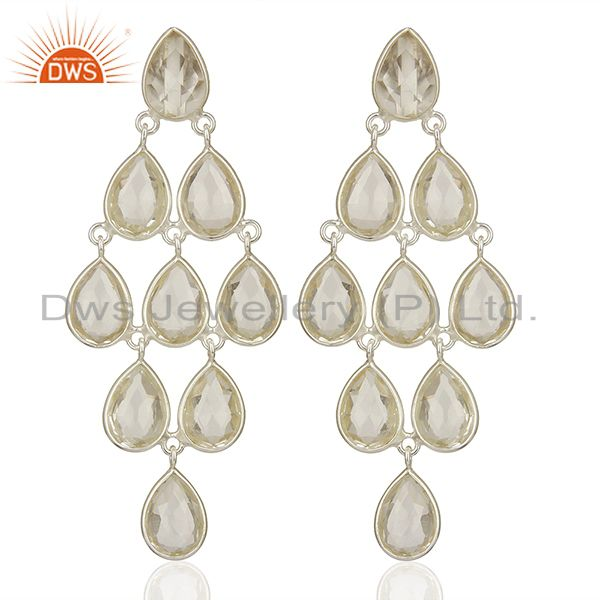 Clear Crystal Quartz Gemstone 925 Fine Silver Dangle Earrings Jewelry
