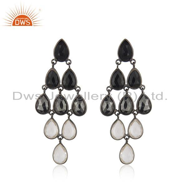 Handmade Black Rhodium Plated Sterling Silver Multi Gemstone Earrings