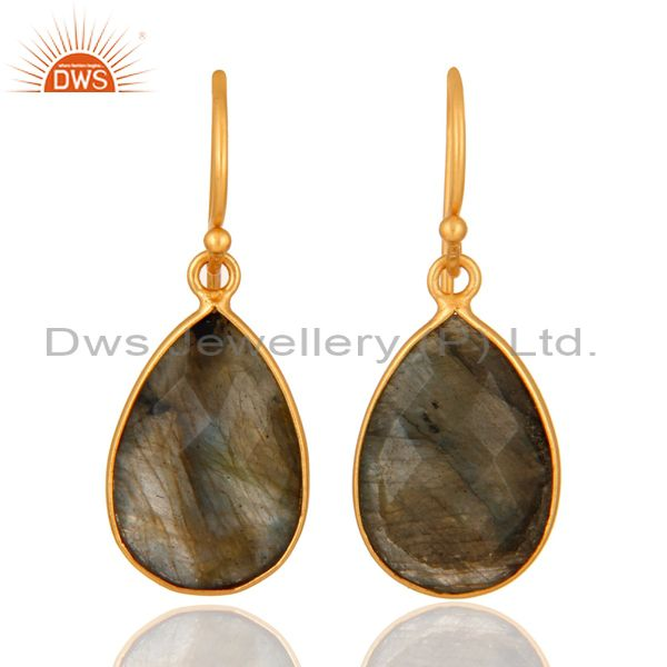 18K Yellow Gold Plated Sterling Silver Labradorite Bezel Set Drop Earrings