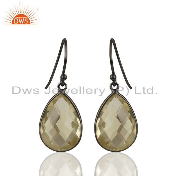 Oxidized Solid Sterling Silver Lemon Topaz Gemstone Bezel Set Drop Earrings