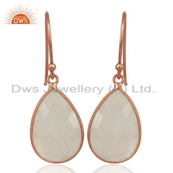 Rainbow Moonstone Dangle 18K Rose Gold Plated Sterling Silver Earrings Jewelry