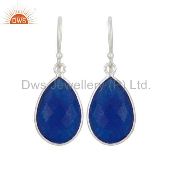 925 Sterling Silver Blue Aventurine Faceted Gemstone Drop Earrings
