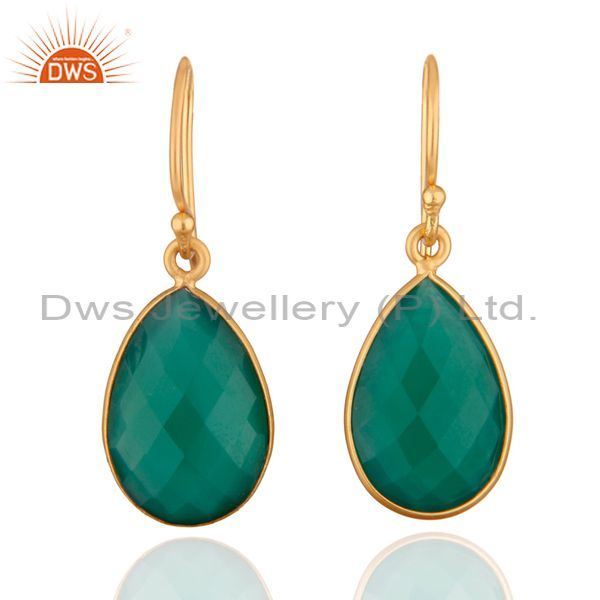 925 Sterling Silver Faceted Green Onyx Gemstone Drop Earrings - Gold Plated