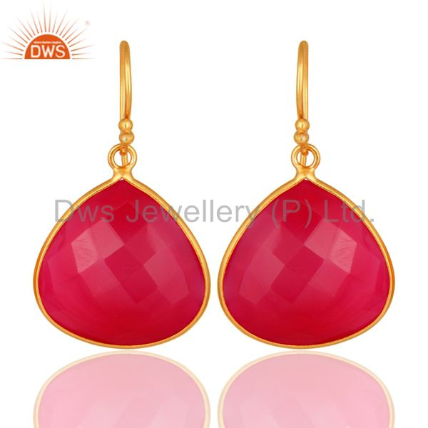 Dyed Chalcedony Gemstone Sterling Silver Drop Earrings - Yellow Gold Plated