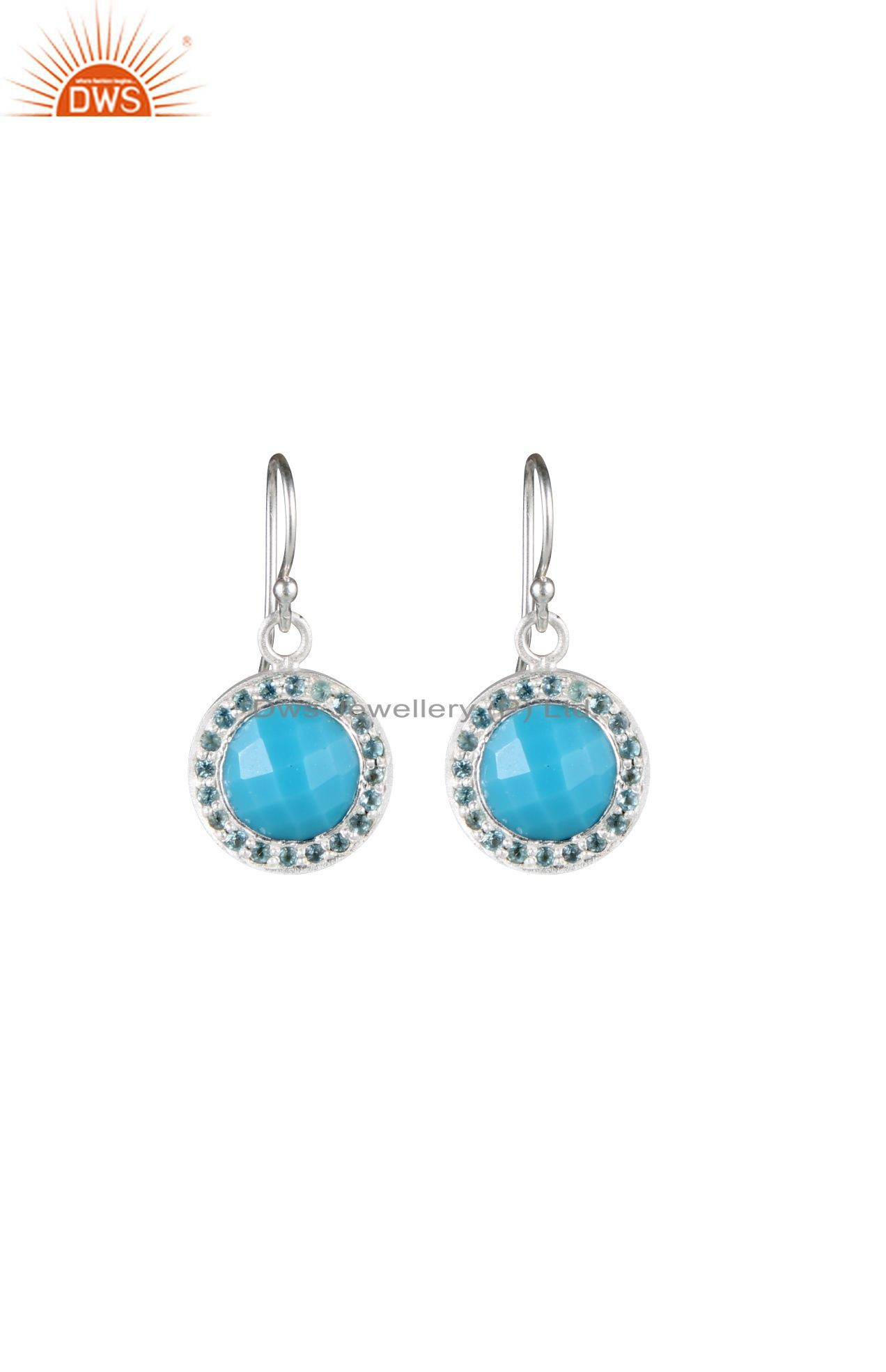Handmade Sterling Silver Turquoise And Blue Topaz Halo Style Drop Earrings