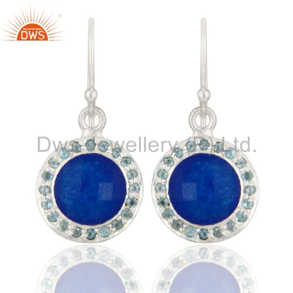 925 Sterling Silver Blue Aventurine And Blue Topaz Gemstone Dangle Earrings