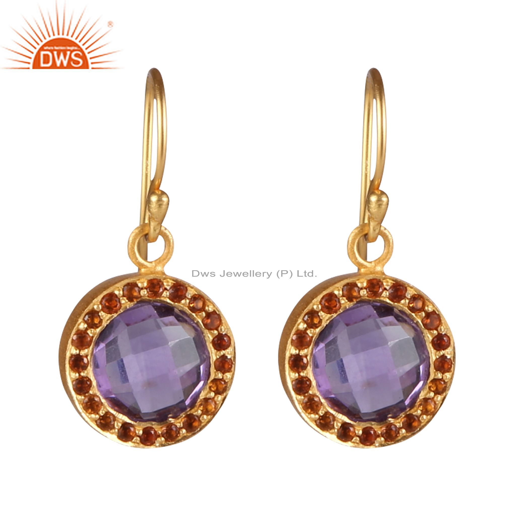 18K Gold Plated Silver Green Onyx And Smoky Quartz Halo Style Drop Earrings