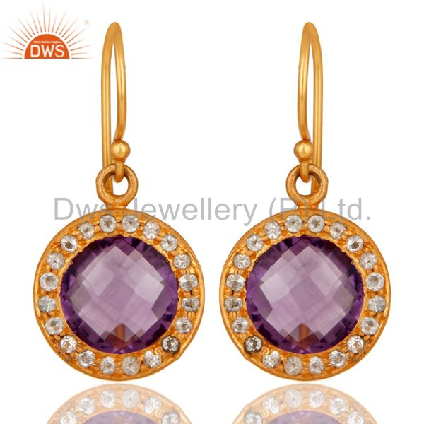 Amethyst and White Topaz 18K Gold Plated Sterling Silver Drop Earring