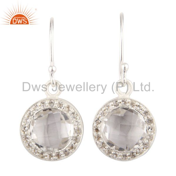 925 Sterling Silver Crystal Quartz And White Topaz Hook Earrings