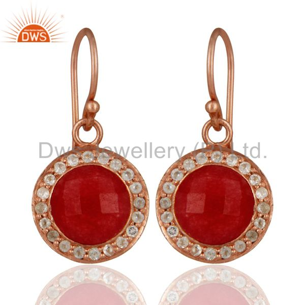 18K Rose Gold Plated Red Aventurine And White Topaz Halo Drop Earrings