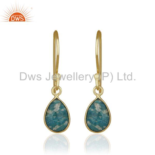 Amazonite Gemstone 925 Silver 14k Gold Plated Drop Earring Jewelry Wholesale