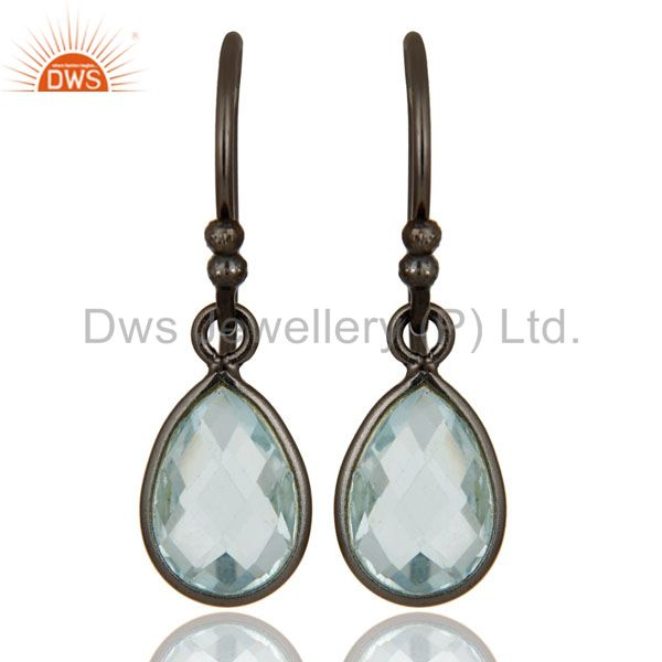 925 Sterling Silver With Oxidized Blue Topaz Gemstone Bezel Set Dangle Earrings