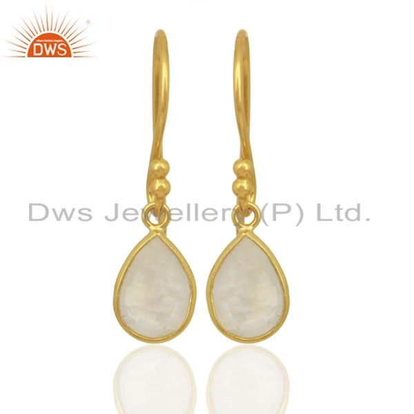 Rainbow Moonstone Dangle 14K Gold Plated 925 Sterling Silver Earrings Jewelry