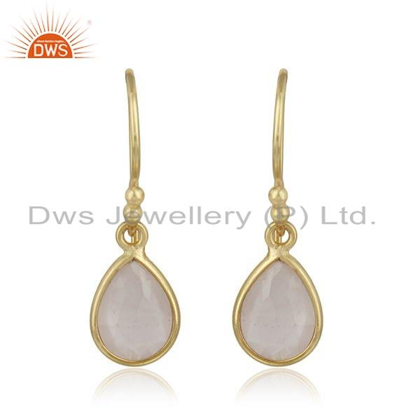 Gold Plated Silver Rose Quartz Gemstone Earrings Jewelry Supplier