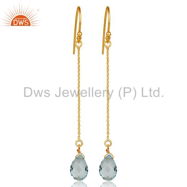 925 Sterling Silver Blue Topaz Briolette Link Chain Dangle Earrings