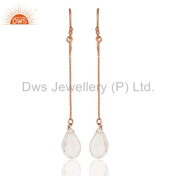 18K Rose Gold Plated Sterling Silver Crystal Quartz Briolette Drop Earrings