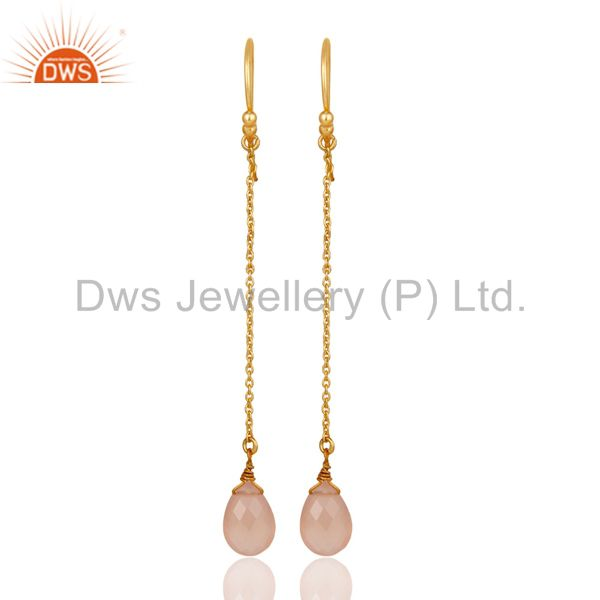 18K Gold Plated Sterling Silver Rose Chalcedony Drop Link Chain Dangle Earrings