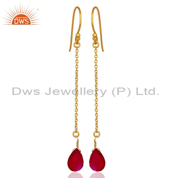 Pink Chalcedony Gemstone 925 Silver Gold Plated Girls Chain Earring