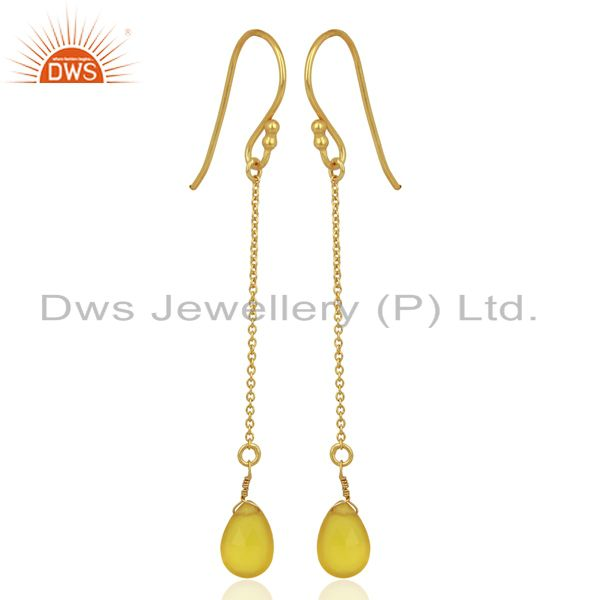 Yellow Chalcedony Drop 14K Yellow Gold Plated 925 Sterling Silver Earrings