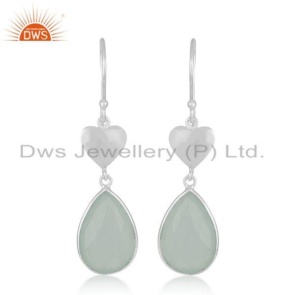 Heart 925 Sterling Silver Aqua Chalcedony Gemstone Dangle Earrings Wholesale