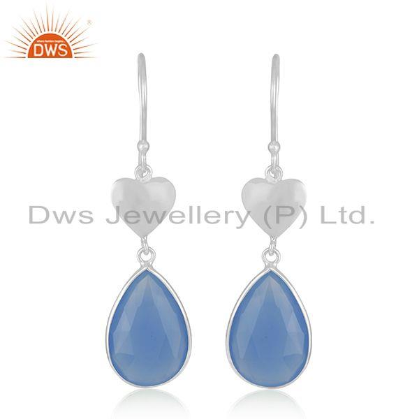 Blue Chalcedony Gemstone 925 Sterling Fine Silver Heart Earrings Manufacturer