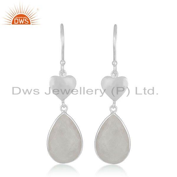 Raibnow Moonstone Sterling SIlver Heart Earrings Jewelry Manufacturer India