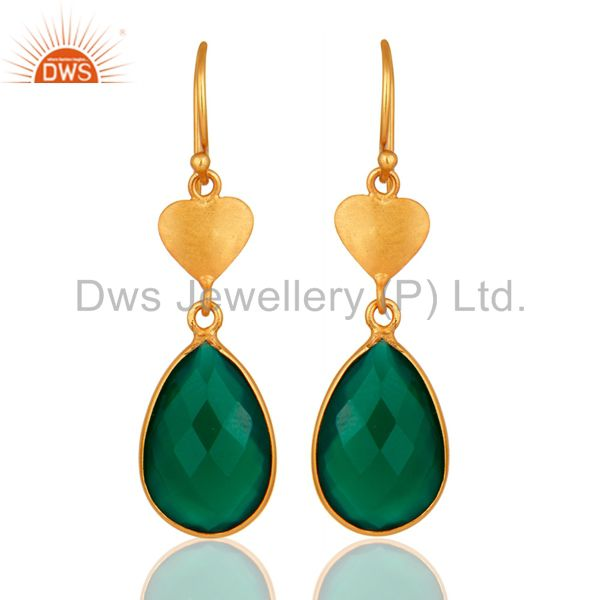 18K Yellow Gold Over Sterling Silver Green Onyx Faceted Drop Earrings