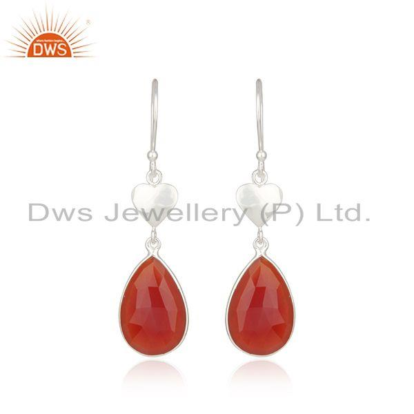 Red Onyx Gemstone Designer Fine Sterling Silver Womens Earrings
