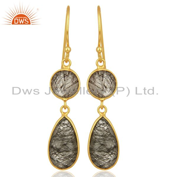 Black Rutile Dangle 14K Gold Plated 925 Sterling Silver Earrings Jewelry