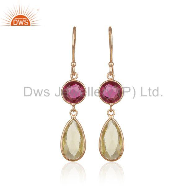 Multi Gemstone Handmade 925 Silver Rose Gold Plated Dangle Earrings Manufacturer