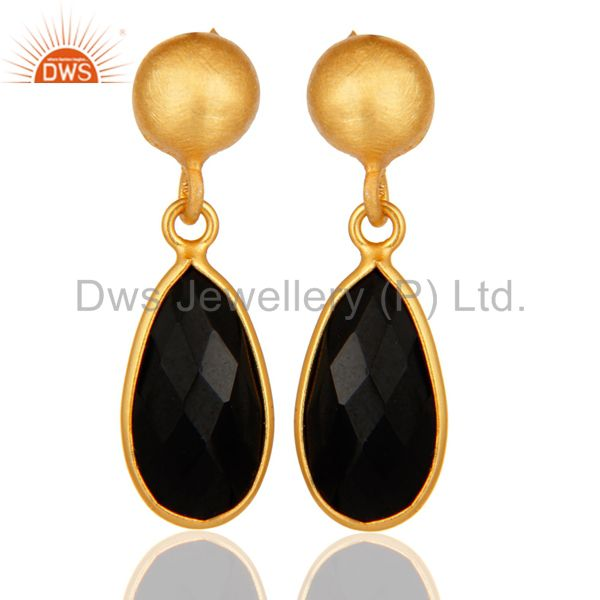 925 Sterling Silver Black Onyx Bezel-Set Drop Earrings With Gold Plated