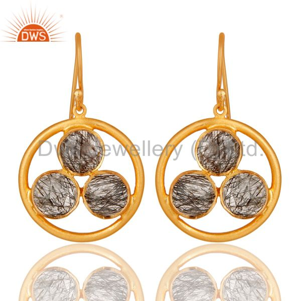 Artisan 18k Gold Plated Silver Black Rutile Gemstone Circle Dangle Earrings