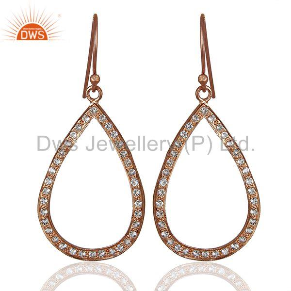 Rose Gold Plated 925 Silver White Topaz Gemstone Earrings Manufacturer