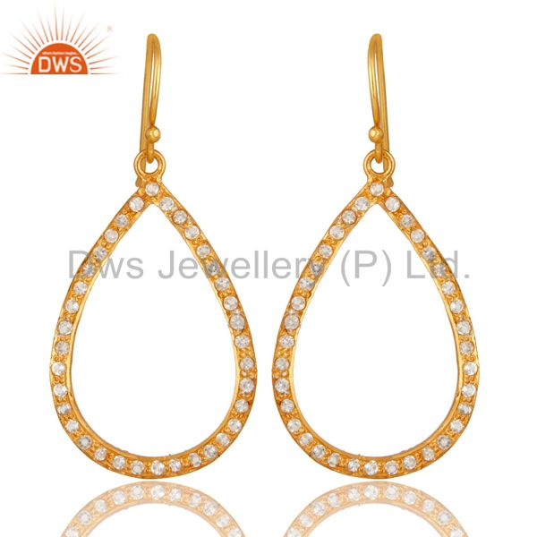 18K Yellow Gold Plated Sterling Silver White Topaz Handmade Fashion Earrings