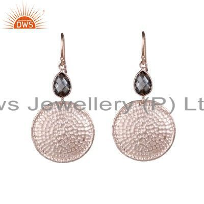 18K Rose Gold Plated Sterling Silver Hammered Disc Smoky Quartz Dangle Earrings