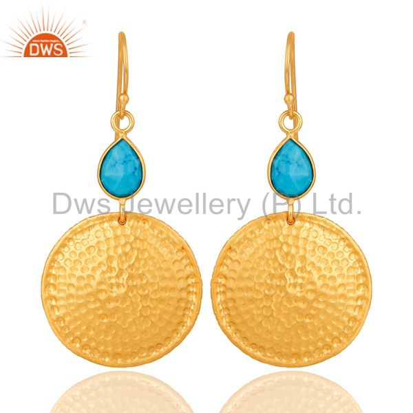 22K Gold Plated Sterling Silver Turquoise Disc Dangle Hammered Earrings