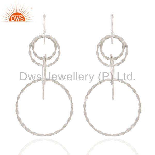 925 Solid Sterling Silver Hammered Multi Circle Design Dangle Earrings